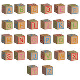 Toy blocks alphabet letters in 3D. Isolated vector Royalty Free Stock Photos