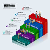 Toy blocks chart business step stair teamwork infographic concept. Can used for presentation,data,diagram,chart and website design Stock Illustration