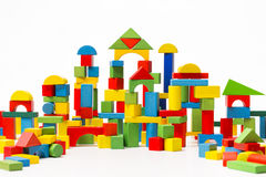 Toy Blocks City, Baby House Building Bricks, Kids Wooden Cubic. White Background stock images