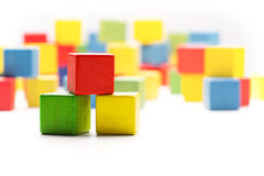 Toy Blocks Cubes, Three Wooden Babies Color Building Boxes Stock Images