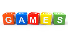 Toy Blocks with Games Sign. On a White Background Stock Photo