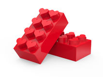 Toy blocks with hearts. On white background. Abstract 3d render Stock Photography