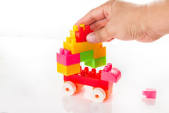 Toy Blocks Isolated colorido en blanco Fotos de archivo