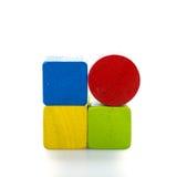 toy blocks, multicolor wooden bricks on white background Stock Photos