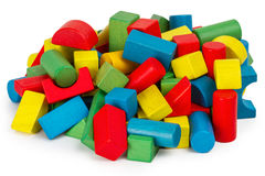 Toy blocks, multicolor wooden building bricks Stock Images