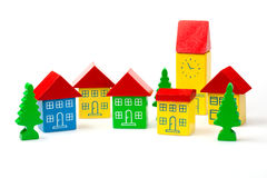 Toy blocks representing a town Royalty Free Stock Photos