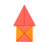 Toy blocks shape like a house with clipping path. Toy blocks shape like a house on white with clipping path Royalty Free Stock Images