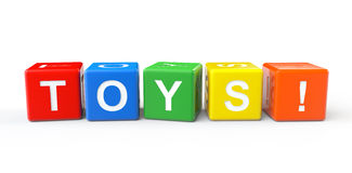 Toy Blocks with Toys Sign Stock Image
