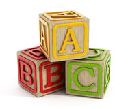 Toy blocks  on white. Toy blocks with letters A, B and C  on white Royalty Free Stock Photography