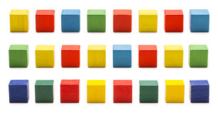 Toy Blocks, Wood Cube Bricks, Multicolor Wooden Cubic Boxes Stock Photos