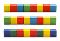 Toy Blocks, Wood Cube Bricks, Row of Multicolor Cubic Boxes Stock Photography