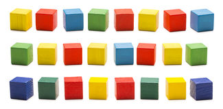 Toy Blocks, Wooden Cube Bricks, Colored Wood Cubic Boxes Set Royalty Free Stock Photography