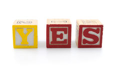 Toy blocks  with word - yes Royalty Free Stock Photography