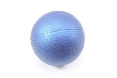 Toy blue ball. Children's toy blue ball on a white background Stock Images