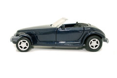 Toy Blue Car (8.2mp Image). Side view of a toy blue car on white royalty free stock image