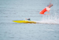Toy boat. Toy motor sport on the water royalty free stock photography