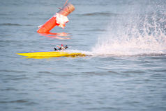 Toy boat. Toy motor sport on the water stock images