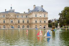 Toy boats in the Luxembourg Garden of Paris Stock Image