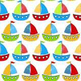 Toy Boats Seamless Background. Sailing children Boats Seamless Background Stock Photo
