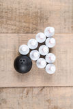 Toy bowling ball and pins Royalty Free Stock Photo