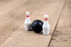 Toy bowling ball and pins Royalty Free Stock Photography
