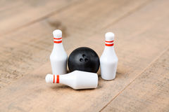 Toy bowling ball and pins Royalty Free Stock Images