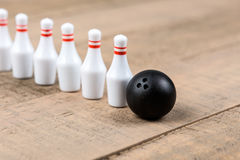 Toy bowling ball and pins Royalty Free Stock Photos