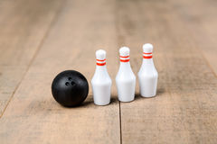 Toy bowling ball and pins Stock Image