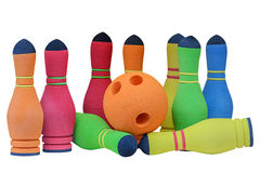 Toy bowling isolated on white background. Image of toy bowling isolated on white background Royalty Free Stock Image