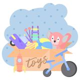 Toy Box, plein des enfants s joue inclure des jouets de peluche, boule, voiture, fusée, vélo, toupie, xylophone Voiture plate d'i illustration stock