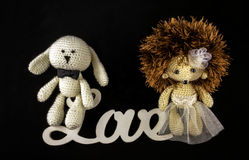 Toy braided newlyweds, the bride and groom. wedding symbols with Royalty Free Stock Photography