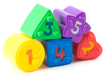 Toy bricks. With numbers from one to five royalty free stock photography