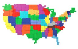 Toy Bricks American Map Royaltyfria Foton