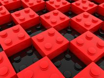 Toy bricks in black and red color. In background royalty free illustration