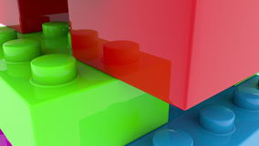 Toy bricks close up in various colors stock video