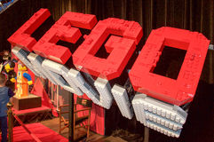 Toy Bricks: Lego Movie Sign. PERTH,WA,AUSTRALIA-APRIL 10,2016: Giant white and red Lego Movie sign at the Brickman Experience in Perth, Western Australia Royalty Free Stock Images