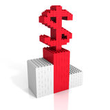 Toy bricks red dollar sign on white background Royalty Free Stock Photos