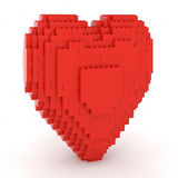 Toy Bricks Red Heart. Over a white background. Part of a series Royalty Free Stock Images