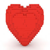 Toy Bricks Red Heart. Over a white background. Part of a series Royalty Free Stock Photo