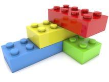 Toy bricks stacked in corner Royalty Free Stock Image