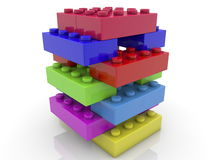 Toy bricks stacked on white Royalty Free Stock Photo