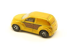 Toy Brown Car. Vintage toy brown car in used condition on white Royalty Free Stock Photos