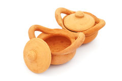 Toy brown clay pots with lid Stock Image