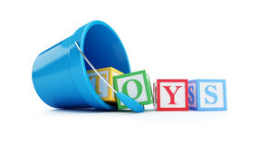 Toy bucket blue toy blocks. 3D illustration on a white background Royalty Free Stock Images