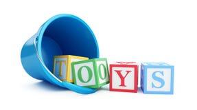 Toy bucket blue toy blocks 3D illustration Royalty Free Stock Photos