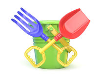 Toy bucket, rake and spade. 3D. Render illustration  on white background Stock Photography
