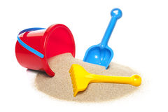 Toy bucket rake and spade Royalty Free Stock Photography
