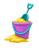 Toy bucket with sand and scoop for children game Royalty Free Stock Photos