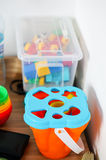 Toy bucket sorter. Plastic sorter bucket with different shapes stock image