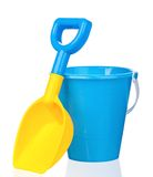 Toy bucket and spade. Isolated on white background royalty free stock photos